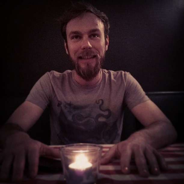 Roel van der Ven at a restaurant with a candle