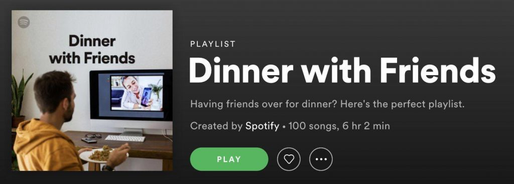 A screenshot of a Spotify-curated playlist called Dinner with Friends