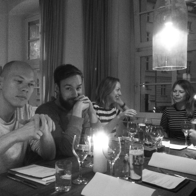 Roel, Alex, Ally and Emma at Restaurant Lokal in Berlin