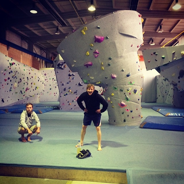 Roel van der Ven and Carsten Rabe in an empty climbing hall