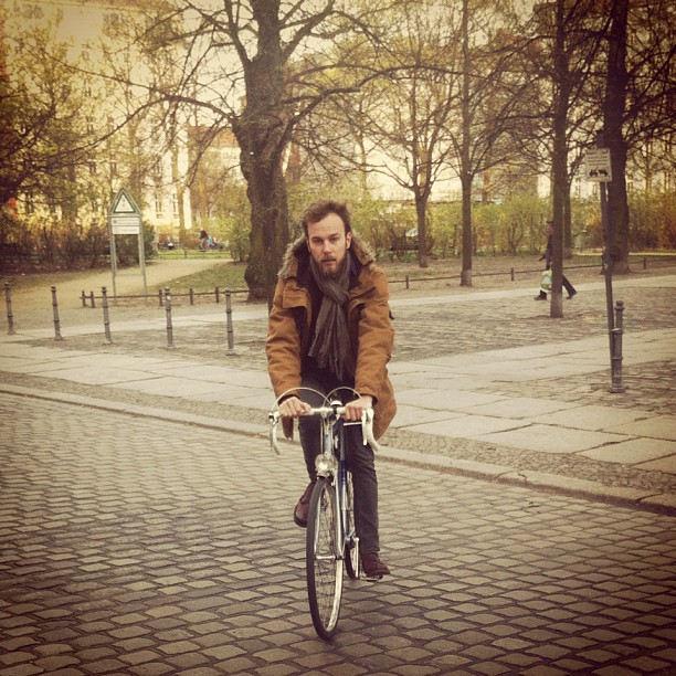 Roel van der Ven rides his Hercules city bike in Berlin