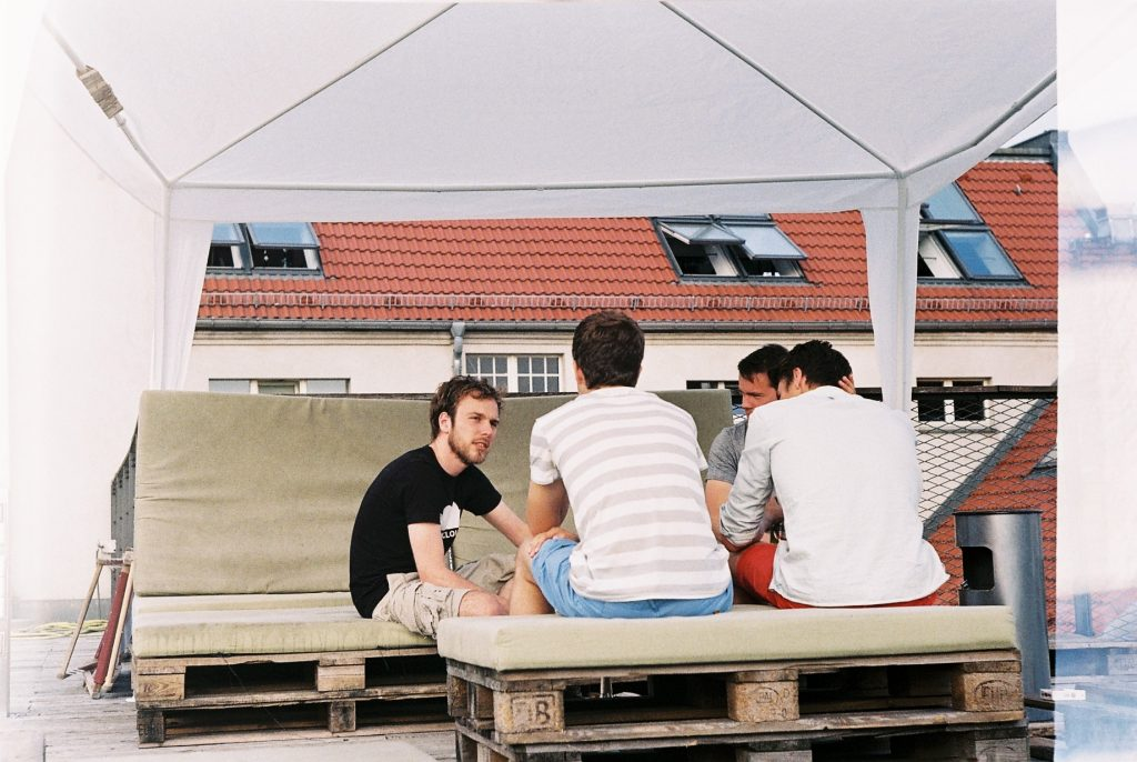 Roel van der Ven and three others at the SoundCloud roof terrace