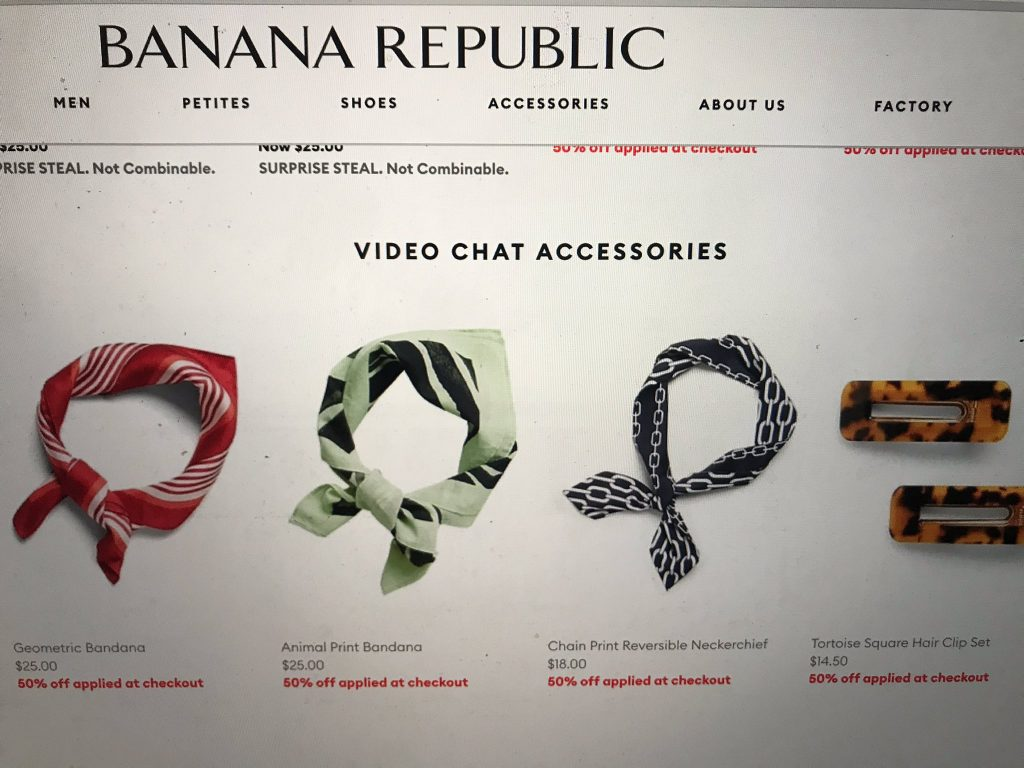 A screenshot of the Banana Republic webshop